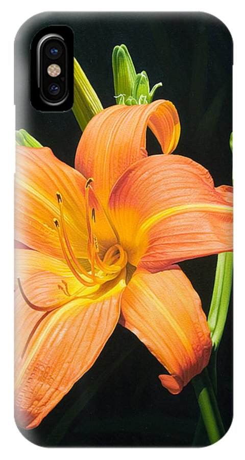 Floral IPhone Case featuring the painting Monikas Orange Lily by Gary Hernandez