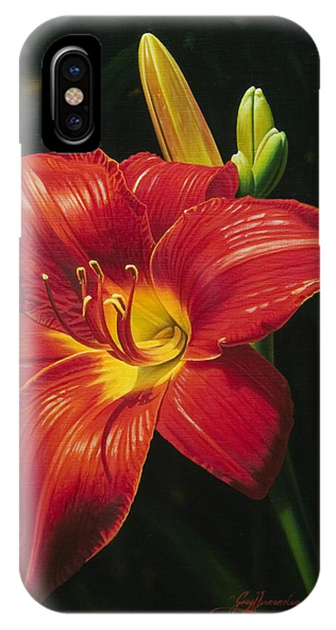 Lily IPhone Case featuring the painting Monikas Red Lily by Gary Hernandez