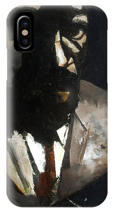 Thelonious Monk Jazz Piano Portrait IPhone X / XS Case featuring the painting Monk by Martel Chapman