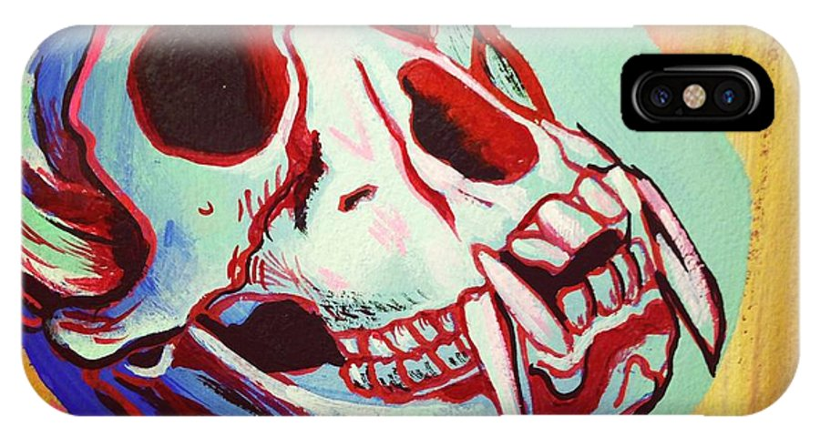 Monkey IPhone X Case featuring the painting Monkey Skull by Britt Kuechenmeister