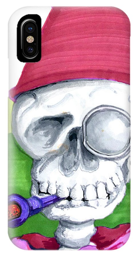 Skull IPhone X Case featuring the drawing Monocle And Fez by Del Gaizo