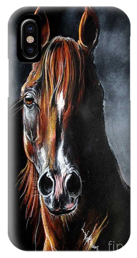 Stallion IPhone X Case featuring the drawing Monogramm by Angel Ciesniarska