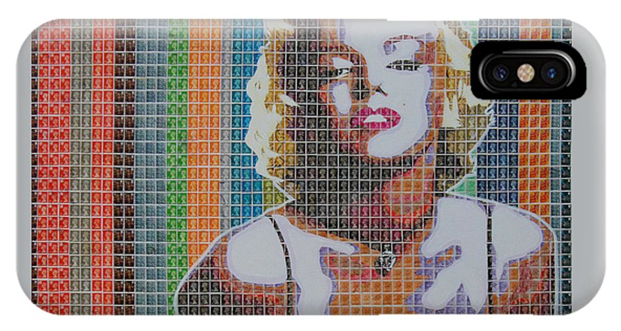Marilyn Monroe IPhone X Case featuring the painting Monroe In Stamps by Gary Hogben