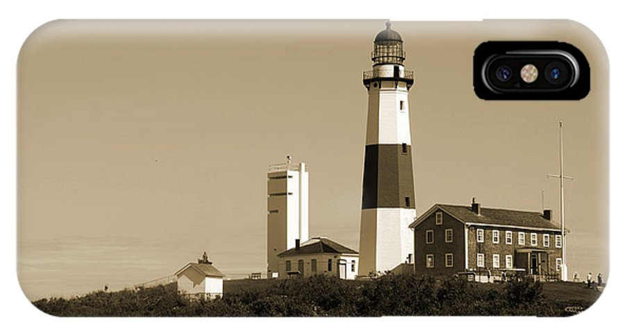 Lighthouse IPhone X Case featuring the photograph Montauk Point Light In Sepia by Christiane Schulze Art And Photography