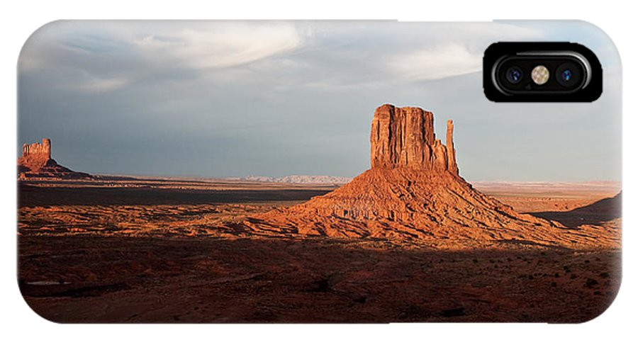 Sky IPhone X Case featuring the photograph Monument Valley Sunset by Jim Chamberlain