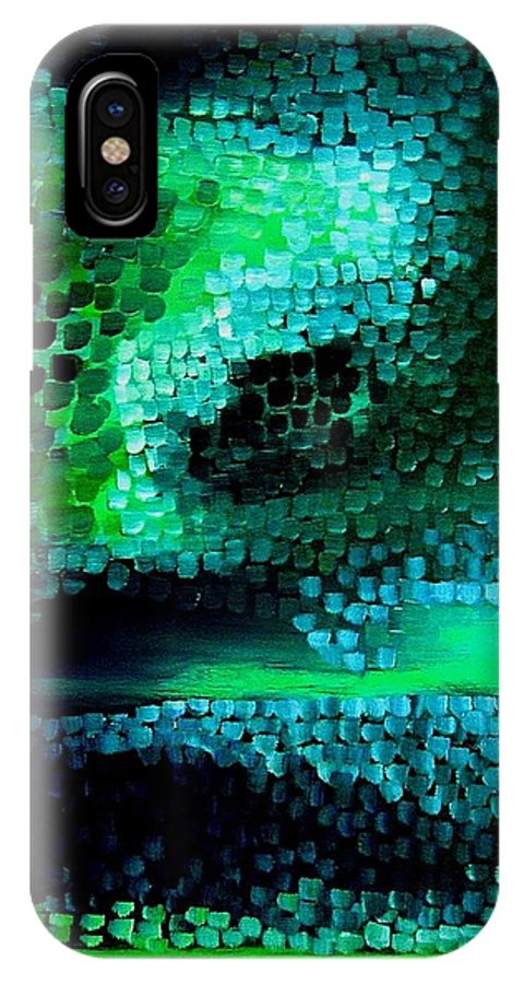 Abstract IPhone X Case featuring the painting Mood In Green by Frank B Shaner