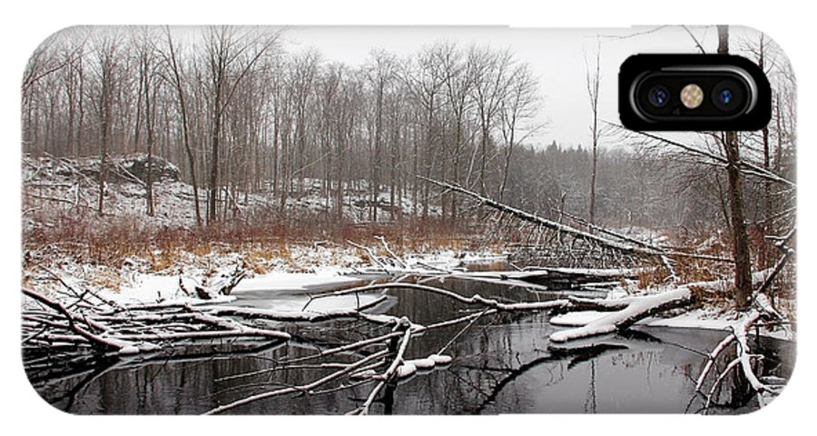 Hilton Falls IPhone X / XS Case featuring the photograph Winter's Moods by Debbie Oppermann