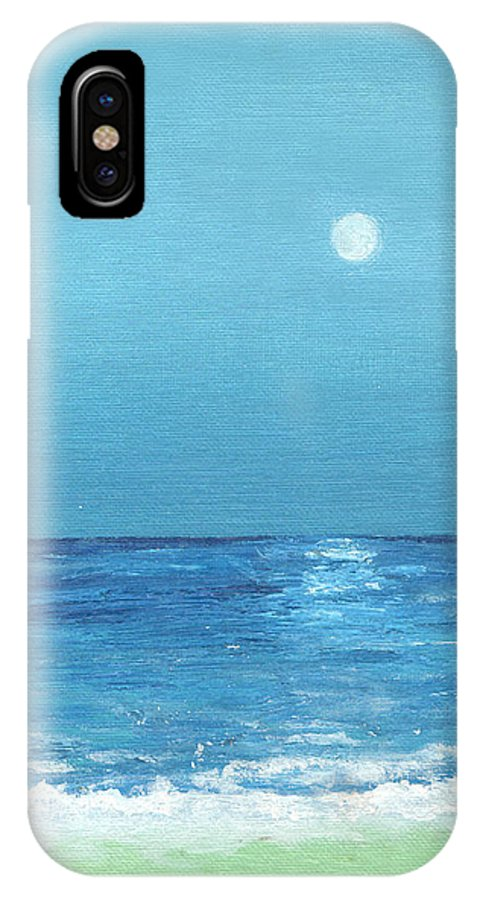 Meteor IPhone X Case featuring the painting Moon And Meteor by Jorge Delara