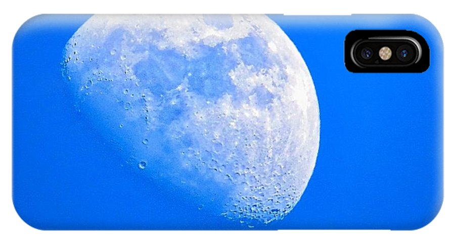Moon IPhone X Case featuring the photograph Moon In The Blue Sky. by Robert Neiszer