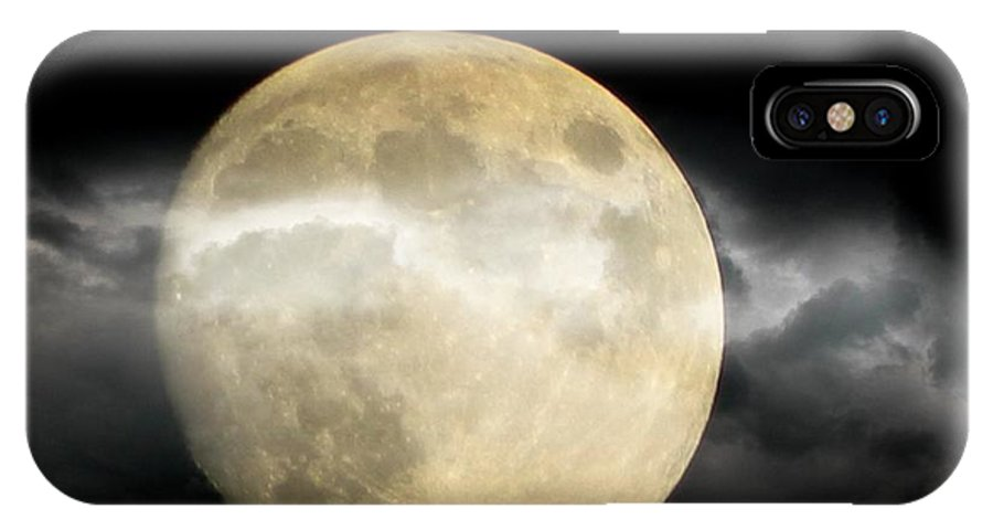 Moon IPhone X Case featuring the photograph Moon In The Fog by Michelle Frizzell-Thompson