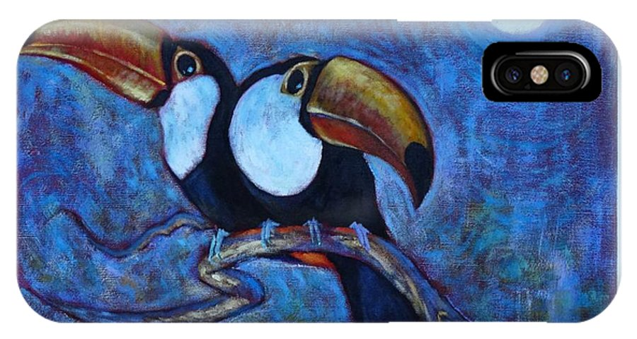 Toucans IPhone X / XS Case featuring the painting Dreaming Of A Rainforest Moon by Charles Munn