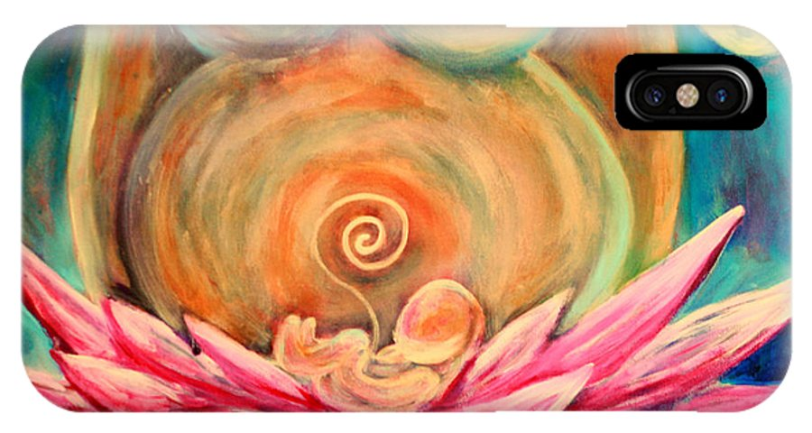 Pregnant IPhone X Case featuring the painting Moon Mother by Lucy H Pearce