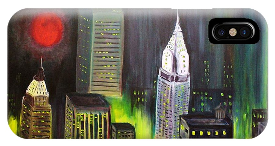 Cityscape IPhone X Case featuring the painting Moon Over Manhattan by Steven Casey