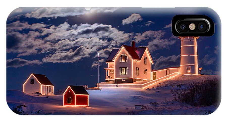 Cape Neddick IPhone X Case featuring the photograph Moon Over Nubble by Michael Blanchette