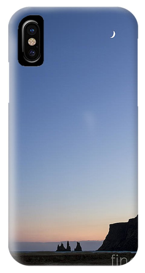 Vik IPhone X Case featuring the photograph Moon Over Vik by Evelina Kremsdorf