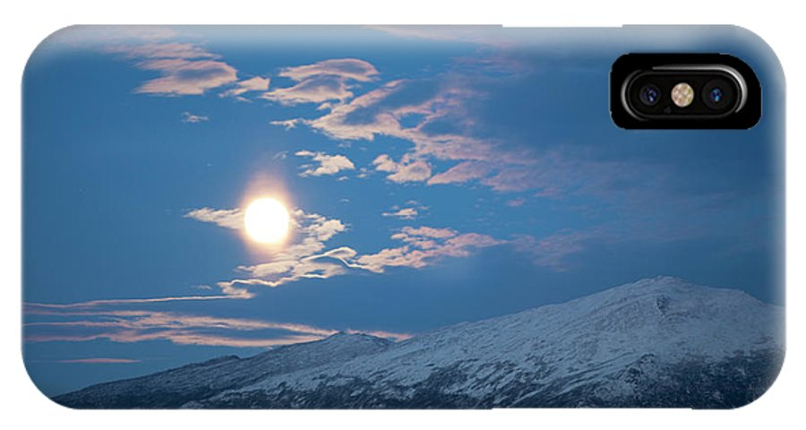 Blue IPhone X Case featuring the photograph Moon Rise Over The Presidential Range by Jose Azel