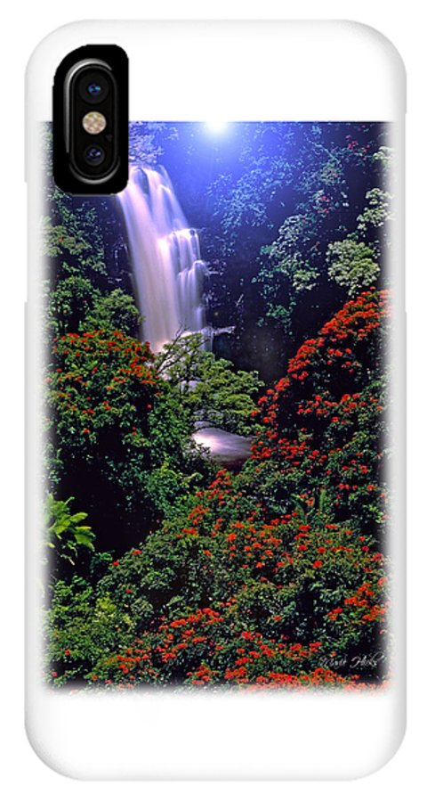 Hawaii IPhone X Case featuring the photograph Moonlight Falls by Marie Hicks