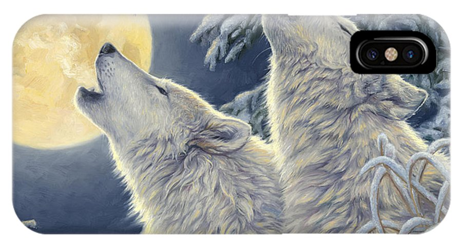 Wolf IPhone X Case featuring the painting Moonlight by Lucie Bilodeau