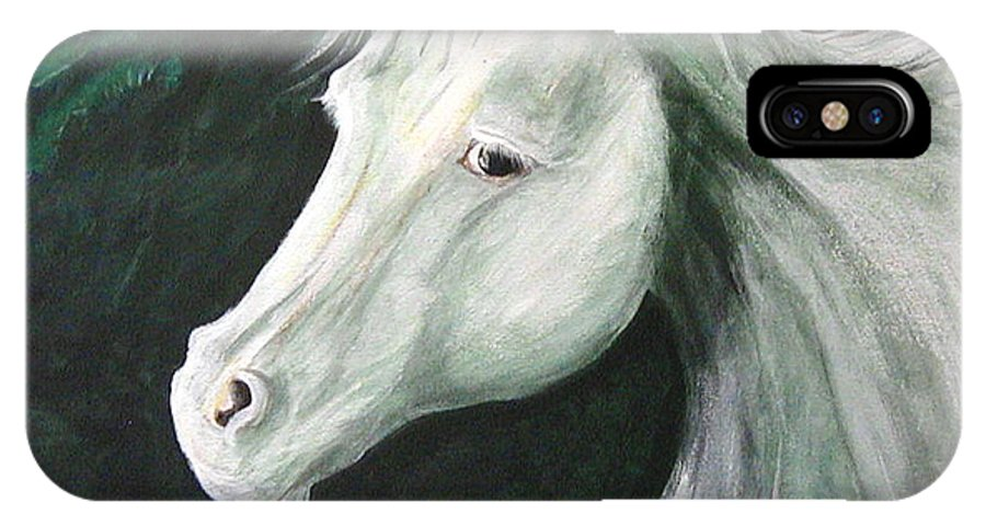 Horse IPhone X / XS Case featuring the painting moonlight Ride by Diana Dearen