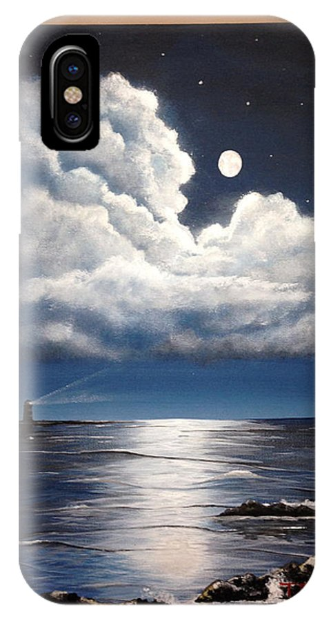 Moonlight IPhone X Case featuring the painting Moonlight by Theresa Ranaghan