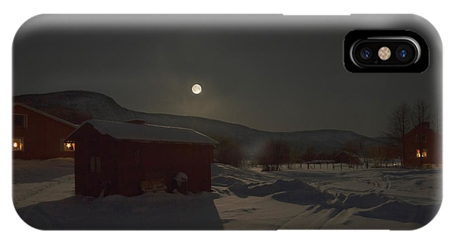 Moon IPhone X Case featuring the photograph Moonlit Arctic Village by Pekka Sammallahti