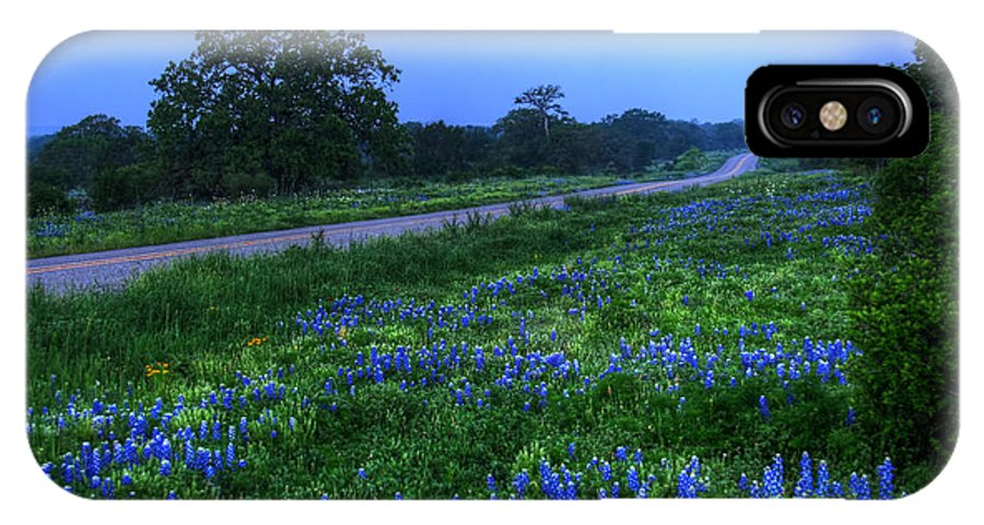 2012 IPhone X / XS Case featuring the photograph Moonlit Bluebonnets by Tom Weisbrook
