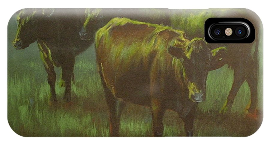 Cows IPhone X Case featuring the painting Moonlit by Mia DeLode