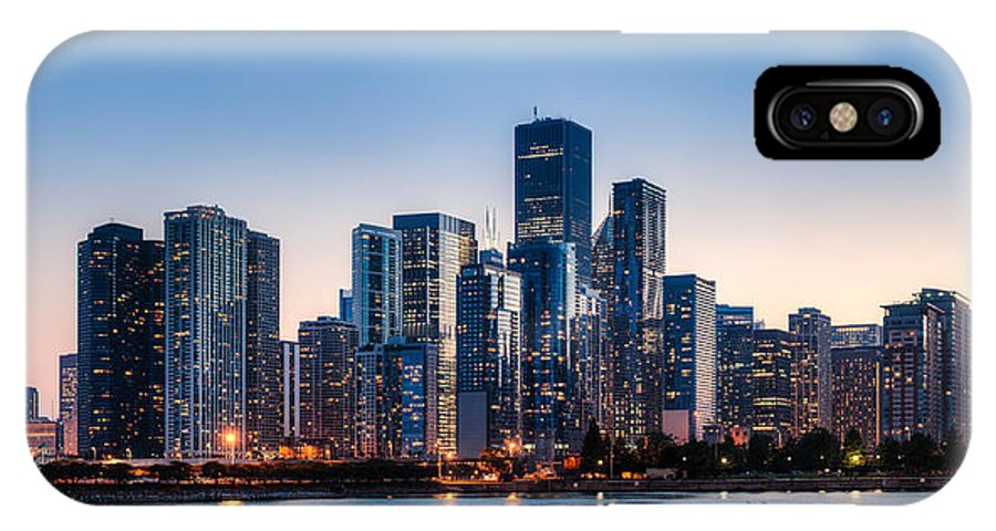 Chicago IPhone X Case featuring the photograph Moonrise Over Chicago Skyline by Chris Smith