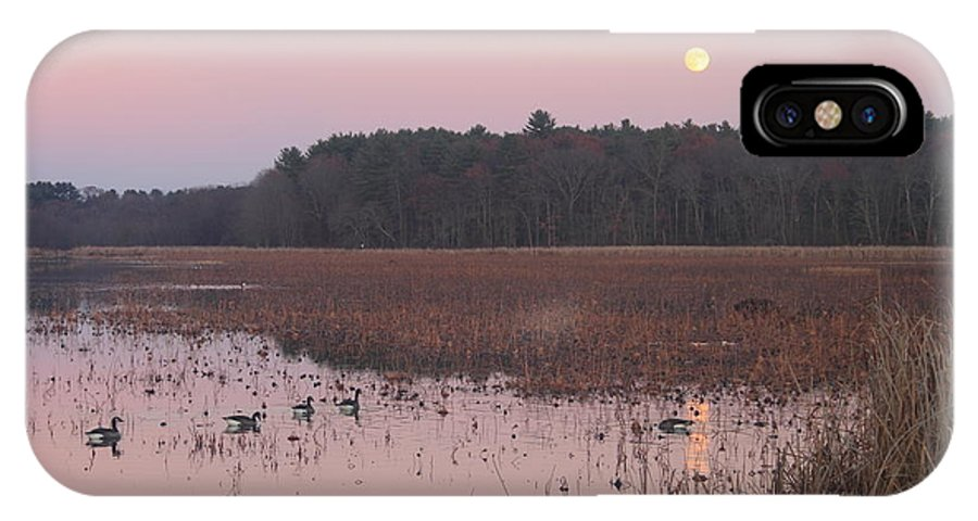 Moon IPhone X Case featuring the photograph Moonrise Over Waterfowl Pond by John Burk