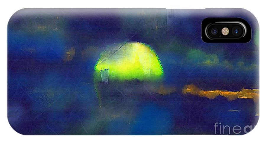 Sea IPhone X Case featuring the painting Moonrise Primitive by RC DeWinter