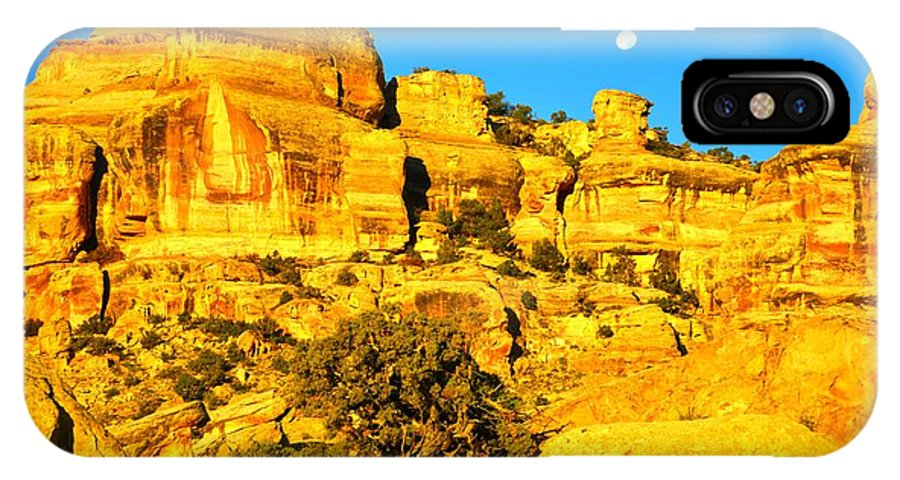 Colorado National Monument IPhone X Case featuring the photograph Moonset by Ray Mathis