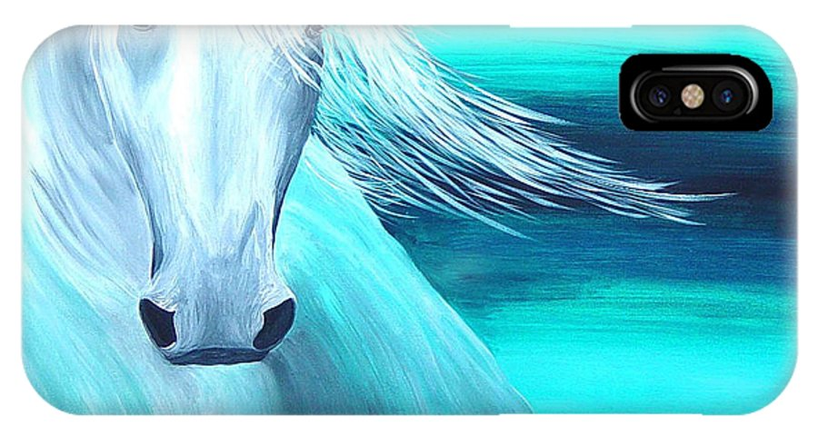 Horse IPhone X Case featuring the painting Moonshine by Karen Rester