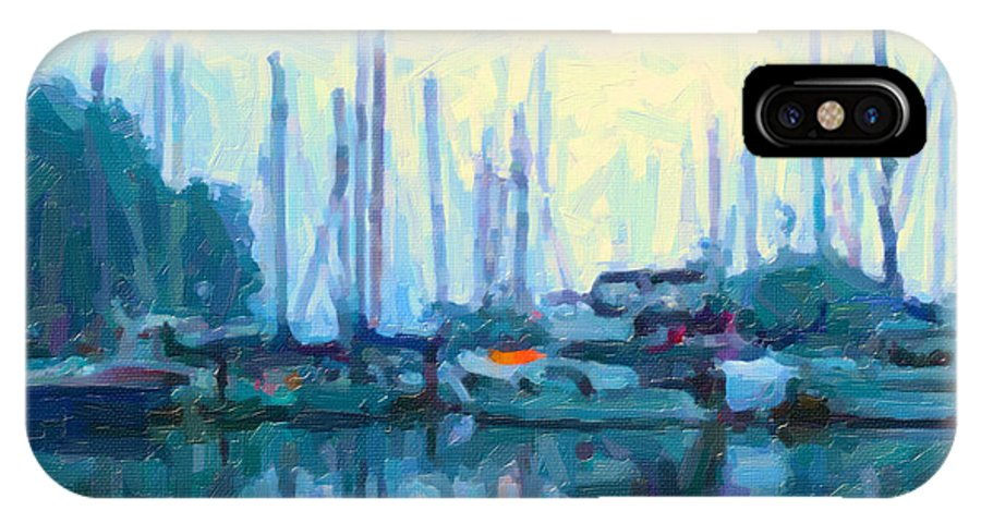 Nanaimo IPhone X Case featuring the digital art Moored At Dawn by Ty Korte