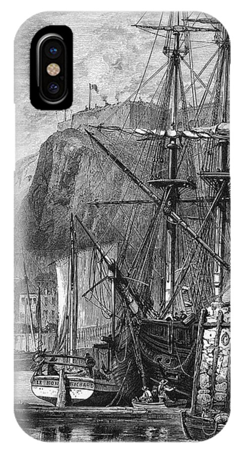 Jersey IPhone X Case featuring the drawing Moored Ships At Fort Regent, St by Mary Evans Picture Library