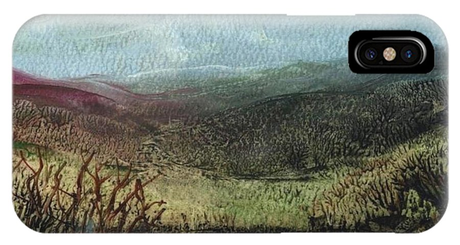 Moorland IPhone X Case featuring the painting Moorland View 2 by Carol Rowland