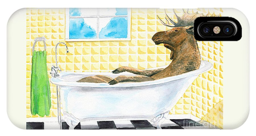 Moose Painting IPhone X / XS Case featuring the painting Moose Bath, Moose Painting, Moose Print, Bath Painting, Bath Print, Cottage Art by LeAnne Sowa