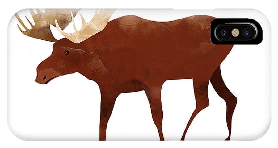 Moose IPhone X Case featuring the digital art Moose by Randoms Print