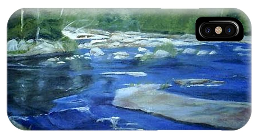 Moose River IPhone X Case featuring the painting Moose River Lyons Falls by Sheila Mashaw