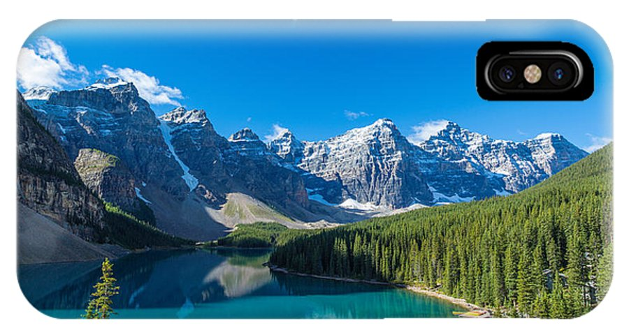 Photography IPhone X Case featuring the photograph Moraine Lake At Banff National Park by Panoramic Images