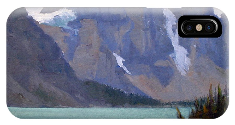 Plein Air Painting IPhone X Case featuring the painting Moraine Lake Banff by Mohamed Hirji