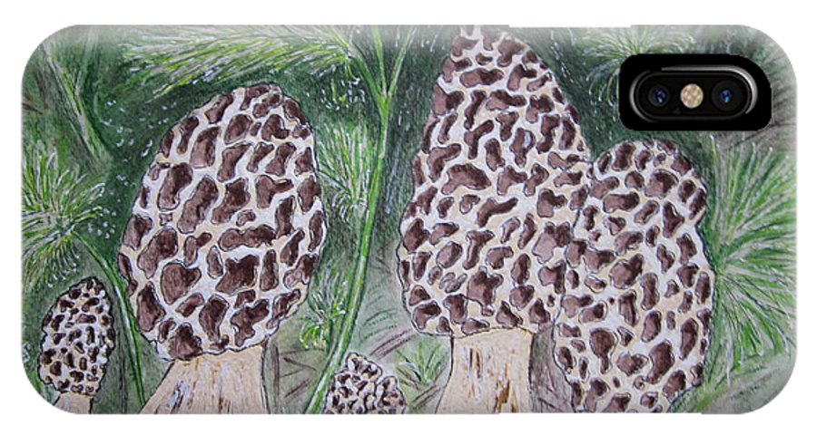 Morel IPhone X / XS Case featuring the painting Morel Mushrooms by Kathy Marrs Chandler