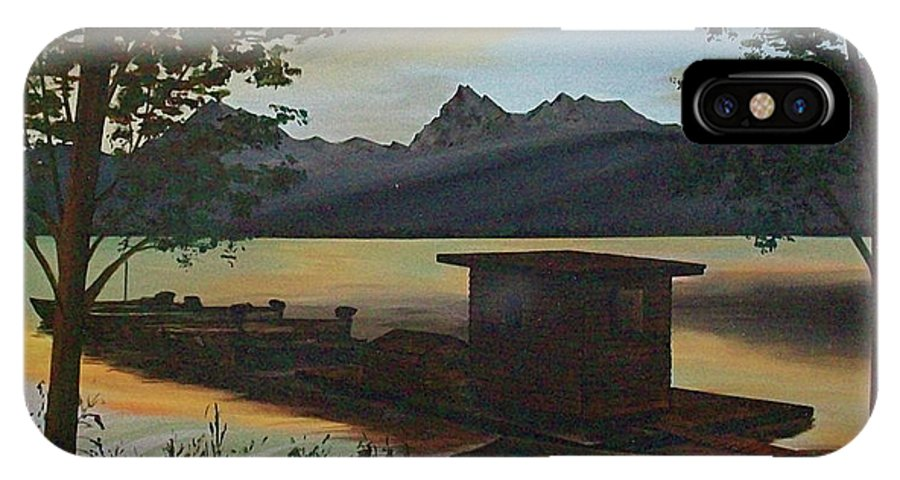 Boats Mountain Peaks Morning Sun Rays IPhone X Case featuring the painting Morning At Lake Mcdonald Glacier Park by Frank Hunter