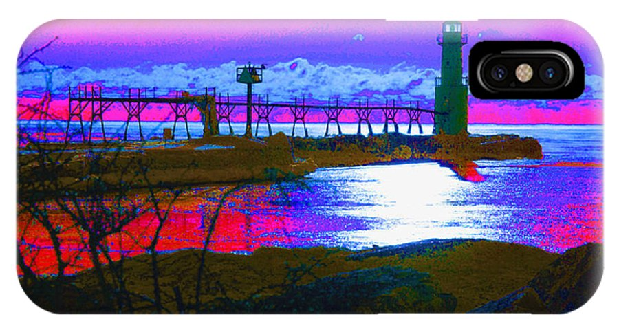Lighthouse; Lighthouses; Algoma; Algoma Pierhead Light; Wisconsin; Lake Michigan; Great Lakes; Abstract; Maritime IPhone X / XS Case featuring the photograph Morning At The Algoma Light An Abstract by Janice Adomeit