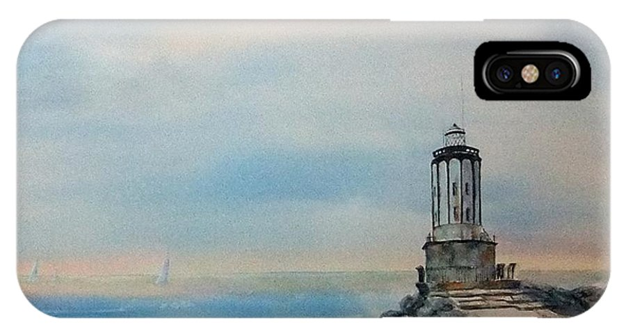 Watercolor IPhone X Case featuring the painting Angel's Gate Lighthouse by Debbie Lewis