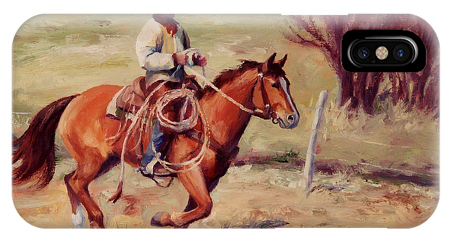 Cowboy IPhone X Case featuring the painting Morning Commute Working Cowboy Western Art by Kim Corpany