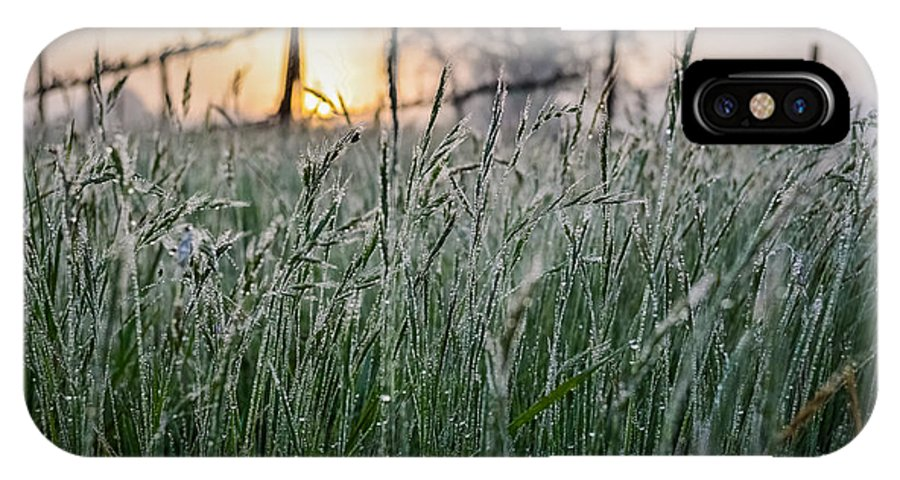 Slusser IPhone X Case featuring the photograph Morning Dew - View Through The Grass by Justin Murazzo