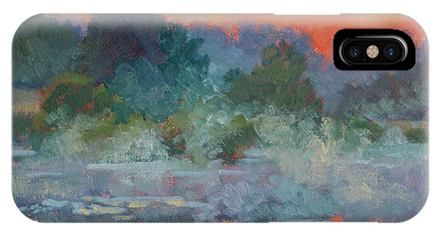 Impressionism IPhone X / XS Case featuring the painting Morning Fog by Keith Burgess