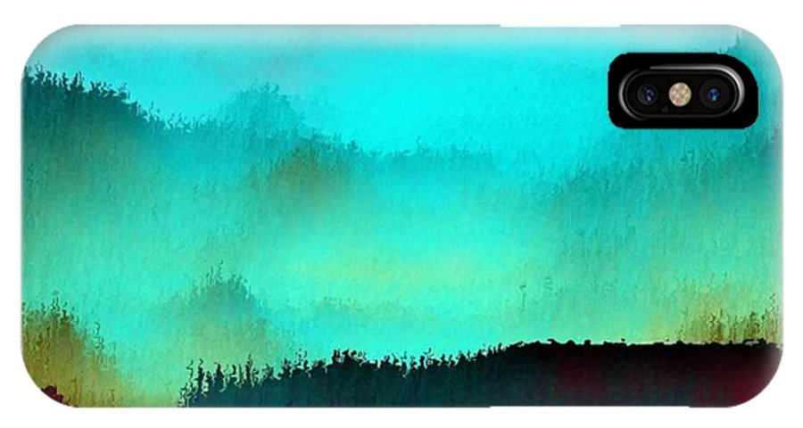 Morning Fog Silhouette The Layers Of The Fog Colors Pale Blue Rose Black IPhone X Case featuring the digital art Morning for you by Dr Loifer Vladimir