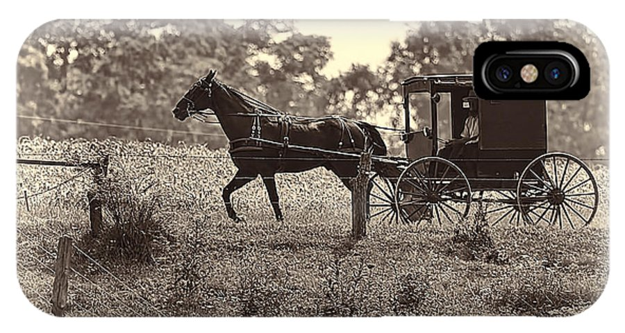 Transportation. Buggy IPhone X Case featuring the photograph Morning In Amish Country by Marcia Colelli