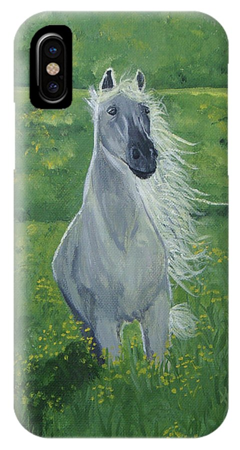 Horse IPhone X Case featuring the painting Morning In The Pasture by Donna Blackhall